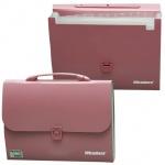 Портфель пластиковый Brauberg Comfort, 13 отделений, розовый