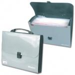 Портфель пластиковый Brauberg Metallic серебристый, 13 отделений