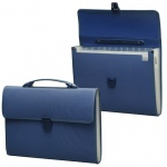 Портфель пластиковый Brauberg синий, 332х292х32мм, 13 отделений