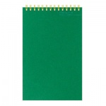 Блокнот Attache зеленый, А6, 50 листов, в клетку, на спирали, картон