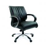 Кресло руководителя Chairman 444 нат. кожа, крестовина хром, черная кожа