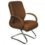 Кресло посетителя Chairman 445 нат. кожа, коричневая, на полозьях
