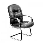 Кресло посетителя Chairman 416 V иск. кожа, черная, глянцевая, на полозьях