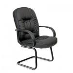 Кресло посетителя Chairman 416 V иск. кожа, черная, на полозьях, черное матовое