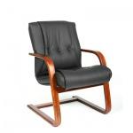 Кресло посетителя Chairman 653 V нат. кожа, черная, на полозьях