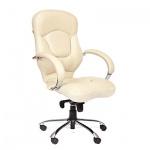 Кресло руководителя Chairman 430 нат. кожа, белая, крестовина хром