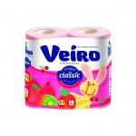 Туалетная бумага Veiro Classic вишня, розовая, 2 слоя, 4 рулона, 140 листов, 17.5м