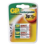 Аккумулятор Gp AAA/HR03, 950mAh, 4шт/уп
