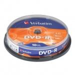 Диск DVD-R Verbatim 4.7Gb, 16х, Cake Box, 10шт