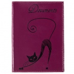 Бумажник водителя Befler Изящная кошка фиолетовый, натуральная кожа, 6 карманов