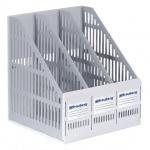 Накопитель вертикальный для бумаг Brauberg Smart-Maxi А4, 3 секции, 255мм, серый