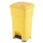 Контейнер для мусора Vileda Pro Гера 85л, с педалью и крышкой, желтый, 137760