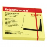 Блок для записей с клейким краем Erich Krause, неон, 75х75мм, 80 листов, желтый
