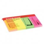 Клейкие закладки бумажные Erich Krause 4 цвета, 20х50мм, 4х50 листов