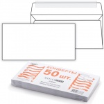 Конверт почтовый Курт Е65 белый, 110х220мм, 80г/м2, 50шт, стрип