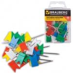 Кнопки для пробковых досок Brauberg цветные, 50 шт/уп, флажки, в пласт. коробке
