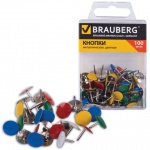 Кнопки канцелярские Brauberg 10мм, 100шт/уп, металл. цветные
