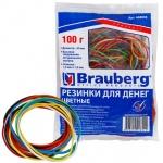 Резинки для денег Brauberg 60x1.5мм, 100г, разноцветные, 180шт