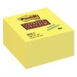 Блок для записей с клейким краем Post-It Super Sticky желтый, неон, 76x76мм, 350 листов, 2028-S