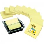 Диспенсер для клейких листков Post-It Миллениум, черный/ прозрачный, 76х76мм, 100 листов, 12 желтых блоков