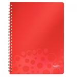 Тетрадь общая Leitz Bebop красный, А4, 80 листов, в линейку, на спирали, пластик, 45710025