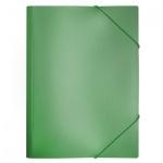 Пластиковая папка на резинке Бюрократ зеленая, A4, до 150 листов, PR05grn