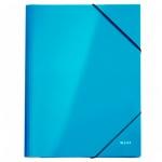 Картонная папка на резинке Leitz WOW голубая, А4, до 250 листов, 39820036