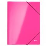 Картонная папка на резинке Leitz WOW розовая, А4, до 250 листов, 39820036