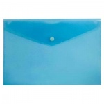 Папка-конверт на кнопке Бюрократ синяя, 250х130мм, PK805ABLU