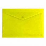Папка-конверт на кнопке Бюрократ, А4, желтая