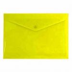Папка-конверт на кнопке Бюрократ желтая непрозрачная, А4, PK803ANYEL