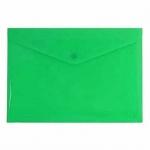Папка-конверт на кнопке Бюрократ зеленая, непрозрачная, А4, PK803ANGRN