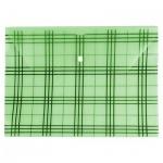 Папка-конверт на кнопке Бюрократ Клетчатая, А4, зеленая