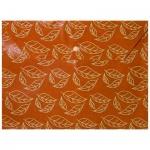 Папка-конверт на кнопке Бюрократ листочки, А4, оранжевая