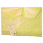 Папка-конверт на кнопке Бюрократ листочки, А4, желтая