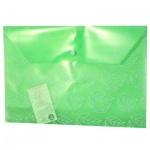 Папка-конверт на кнопке Бюрократ листочки, А4, зеленая