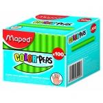 Набор мелков для асфальта Maped Color'Peps, круглые, 100шт, зеленый
