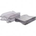 Лоток горизонтальный для бумаг Стамм Люкс А4, серый тонированный, 2 шт/уп, ЛТ602