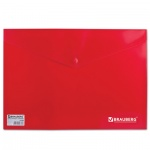 Папка-конверт на кнопке Brauberg 221364, А4,красная
