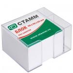 Блок для записей непроклеенный в подставке Стамм белый в прозрачном боксе, 90х90мм, с отделом для ру
