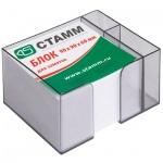 Блок для записей непроклеенный в подставке Стамм белый в тонированном боксе, 90х90мм, с отделом для