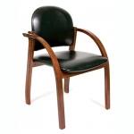 Кресло посетителя Chairman 659 иск. кожа, черная, глянцевая, на ножках, темный орех