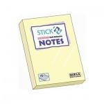 Блок для записей с клейким краем Stick'n желтый, пастельный, 38x51мм, 100 листов