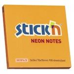 Блок для записей с клейким краем Stick'n, неон, 76х76мм, 100 листов, оранжевый неон