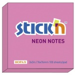 Блок для записей с клейким краем Stick'n розовый, неон, 76х76мм, 100 листов
