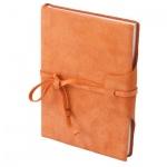 Блокнот Brunnen Бижу оранжевый, А6, 96 листов, в клетку, на сшивке, искусственная кожа