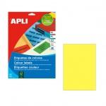 Этикетки цветные Apli 11838, 210х297мм, 100шт, желтые