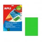 Этикетки цветные Apli, 210х297мм, 100шт, зеленый