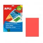 Этикетки цветные Apli 11840, 210х297мм, 100шт, красные