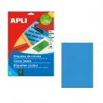 Этикетки цветные Apli 1600, 210х297мм, 20шт, голубые